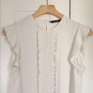 Zara flutter sleeve polka dot blouse
